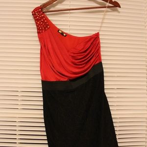 NWT Boutique One-Shoulder Black and Red Dress